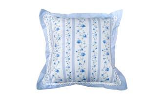 225TC Ashby Rose Blue Square Cushion by Belmondo
