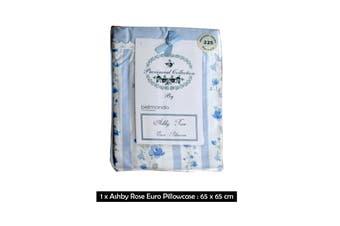 225TC Ashby Rose Blue European Pillowcase by Belmondo