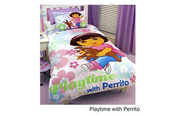 Dora The Explorer Quilt Cover Set Playtime with Perrito Single by Disney by Disney