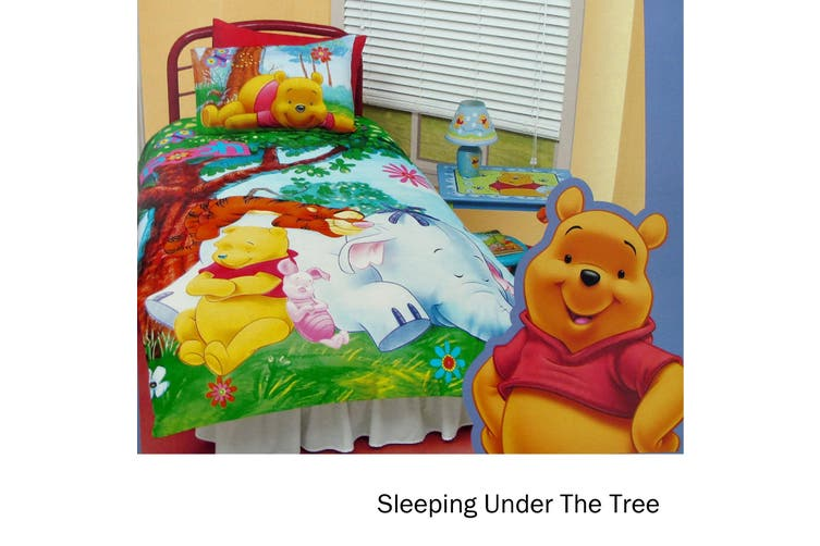 Winnie The Pooh Quilt Cover Set Sleeping Under The Tree Single
