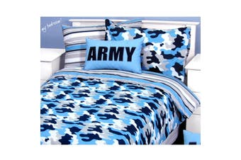Army Camouflage Blue Quilt Cover Set Single