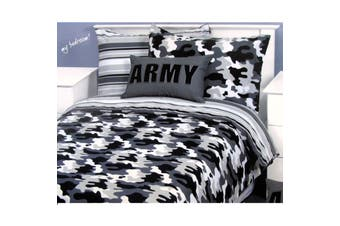 Army Camouflage Grey Quilt Cover Set Single