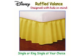 Yellow Ruffled Bed Valance KING SINGLE
