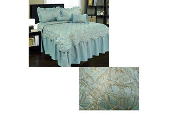 Pallazzo Blue Jacquard Bedspread Set Double