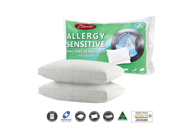Twin Pack Allergy Sensitive Machine Washable Standard Pillows by Easyrest