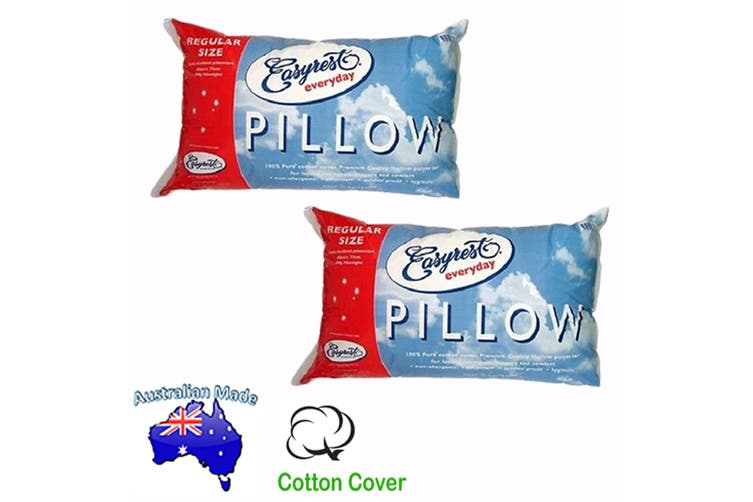 Pair of Australian Made Everyday Standard Pillows by Easyrest