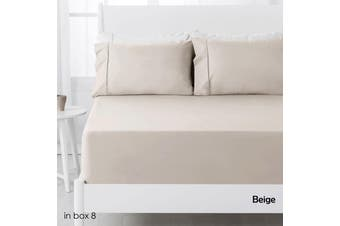 250TC Polyester Cotton Fitted Sheet Set Beige Single