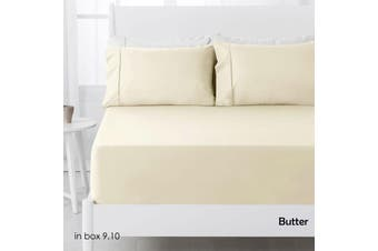 250TC Polyester Cotton Fitted Sheet Set Butter Double