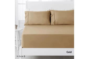 250TC Polyester Cotton Fitted Sheet Set Gold Single