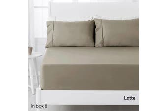 250TC Polyester Cotton Fitted Sheet Set Latte Single