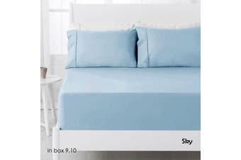 250TC Polyester Cotton Fitted Sheet Set Sky Double