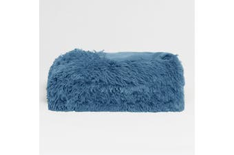 Long Hair Faux Fur Throw Rug Bonnie Blue by Hotel Living