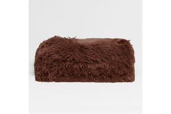 Long Hair Faux Fur Throw Rug Brown by Hotel Living