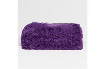 Long Hair Faux Fur Throw Rug Purple by Hotel Living