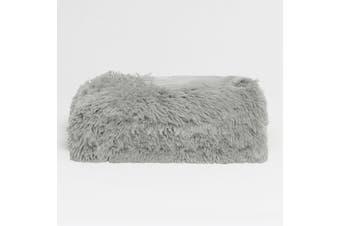 Long Hair Faux Fur Throw Rug Silver by Hotel Living