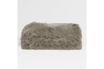 Long Hair Faux Fur Throw Rug Taupe by Hotel Living