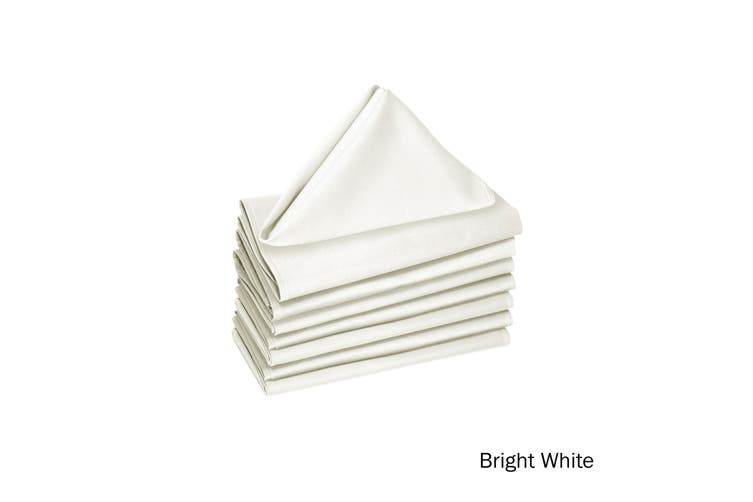 Set of 8 Poly Cotton Napkins Bright White by Hoydu