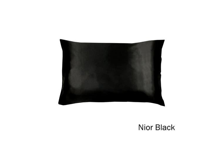 Satin Standard Pillowcase Nior Black by Invitation