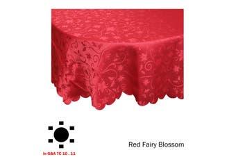 Jacquard Table Cloth Fairy Blossom Red 180cm Round