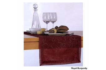 Cara Swirl Organza Table Runner Royal Burgundy by Hoydu