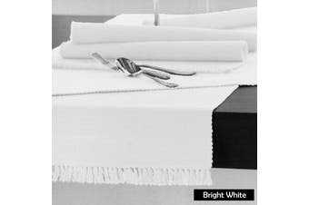 Cotton Ribbed Table Runner Bright White by Hoydu
