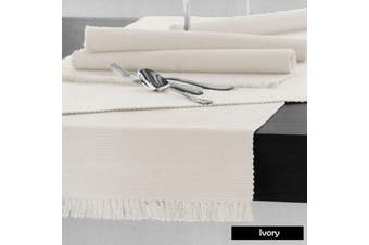 Cotton Ribbed Table Runner Ivory by Hoydu