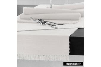Cotton Ribbed Table Runner 45cm x 150cm - MARSHMALLOW