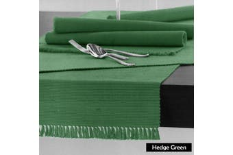Cotton Ribbed Table Runner 45cm x 200cm - HEDGE GREEN