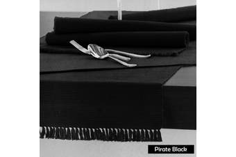 Cotton Ribbed Table Runner Pirate Black by Hoydu
