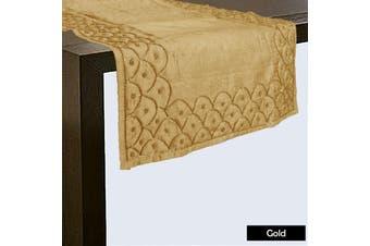 Silk Blend Beaded Table Runner 45cm x 200cm - Gold by Hoydu
