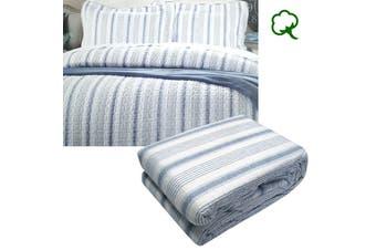 Regatta Blue Quilted Quilt Cover Set Queen