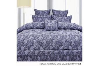 6 Piece Annabelle Grey Queen Comforter Set by Accessorize