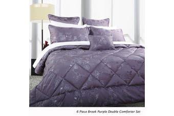 6 Piece Brook Purple Double Comforter Set by Accessorize