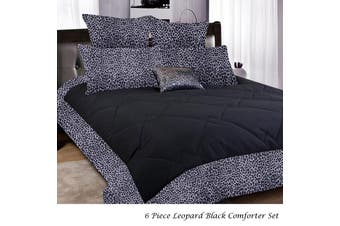 6 Piece Leopard Comforter Black SINGLE by Big Sleep
