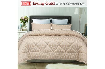 3 Piece 300TC Living Gold Jacquard Comforter Set Queen by Accessorize