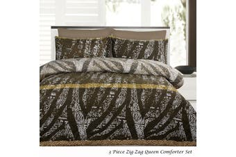 3 Piece Zig Zag Queen Comforter Set by Accessorize