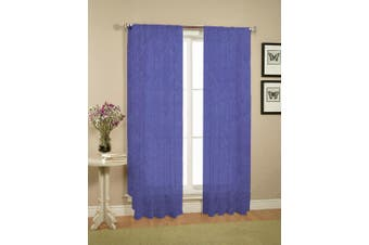 Pair of Crushed Sheer Curtains BLUE