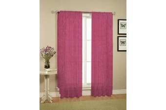 Pair of Crushed Sheer Curtains BURGUNDY