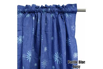 Pair of Polyester Cotton Rod Pocket Pacific Daisy Curtains