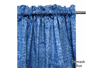Pair of Polyester Cotton Rod Pocket Blue Damask Curtains