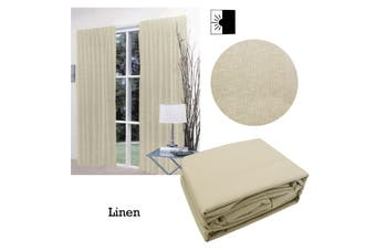 Pair of Faux Linen Blockout Pinch Pleat Curtains Linen to Fit 180 x 221cm