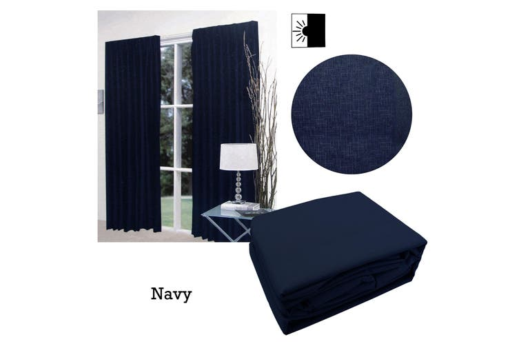 Pair of Faux Linen Blockout Pinch Pleat Curtains Navy to Fit 240 x 221cm