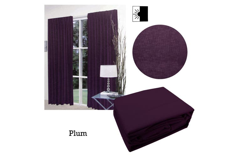 Pair of Faux Linen Blockout Pinch Pleat Curtains Plum to Fit 240 x 221cm