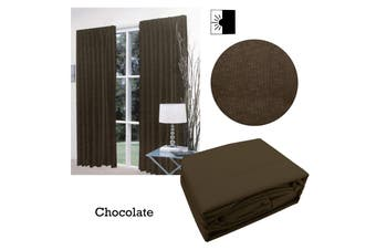 Pair of Faux Linen Blockout Pinch Pleat Curtains Chocolate to Fit 300 x 221cm