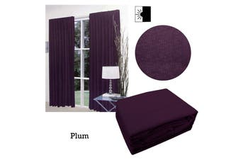 Pair of Faux Linen Blockout Pinch Pleat Curtains Plum to Fit 300 x 221cm