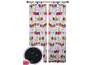 Pair of Glow in the Dark SMS Text Tab Top Children Kids Curtains by Happy Kids