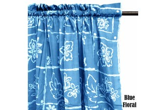 Pair of Polyester Cotton Rod Pocket Blue Floral Curtains by Home Innovations