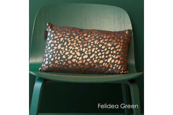 Felidea Green Filled Oblong Cushion by Bedding House