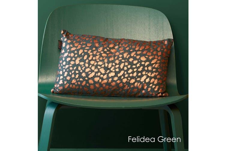 Felidea Green Filled Oblong Cushion by Bedding House