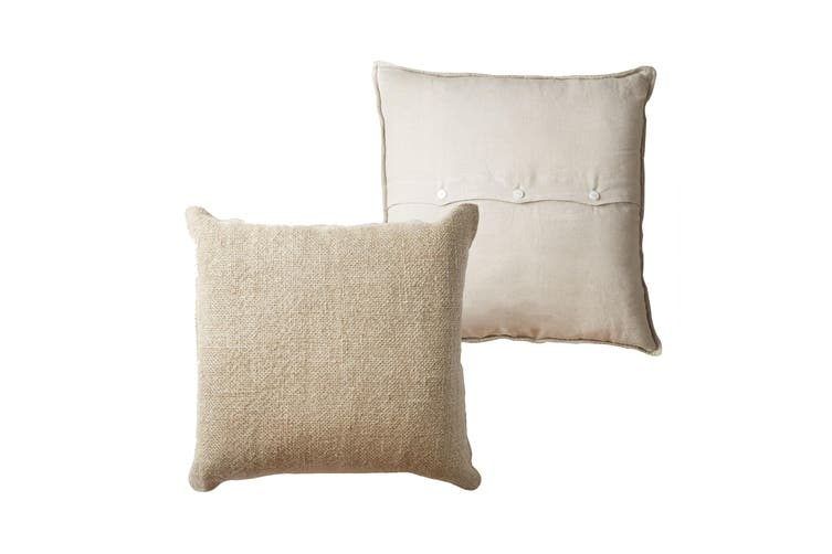 One Luca Linen Filled Cushion European by Vintage Design Homewares